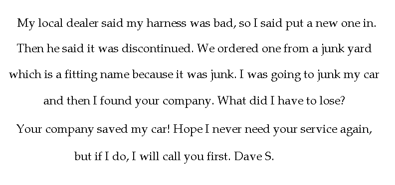 Customer Dave S Feedback